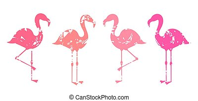 Group of abstract pink flamingos shapes isolated on white background.