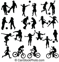 Group of active children, hand drawn silhouettes of kids ...