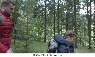 Group of adventurous teenagers with backpacks exploring woods hiking through the forest trail together