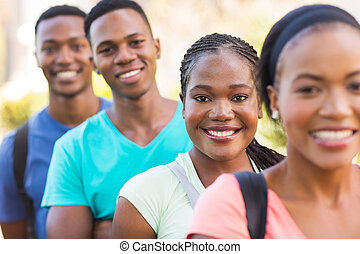group of african american college students outside on campus