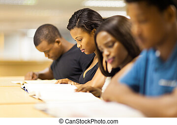 group of african college students reading