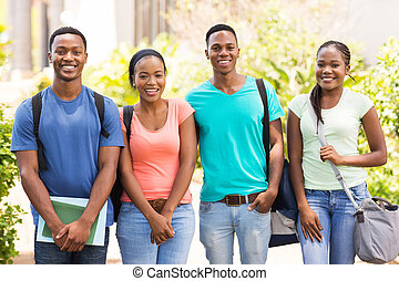 group of african college students standing together