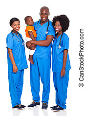 group of african doctors with child