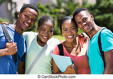 group of african university students looking at the camera
