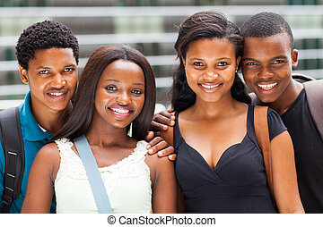 group of african university students portrait on campus