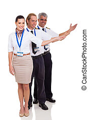 group of airline crew presenting