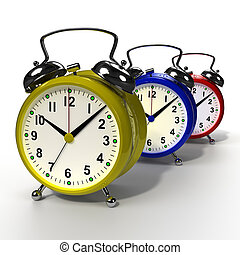 Group of alarm clocks on white background. 3D rendering