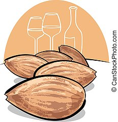 almonds - group of almonds