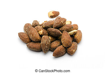 group of almonds isolated on white background