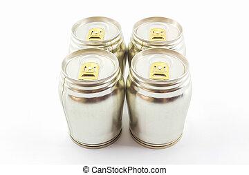 Group of aluminium tin can.