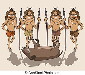 group of ancient hunters with prey vector cartoon