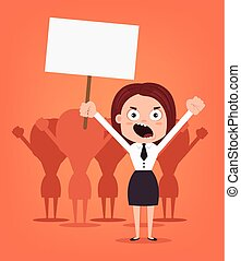 Group of angry women office workers characters protest for rights. Vector flat cartoon illustration