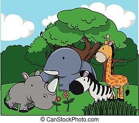 Group of animal at jungle