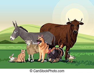 group of animals farm in the landscape scene