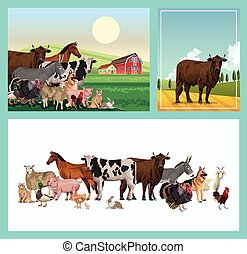group of animals farm with stable in the camp