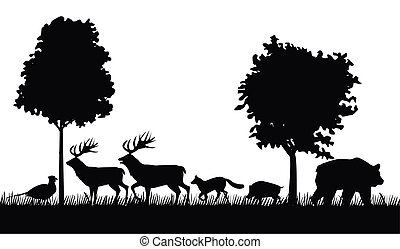 group of animals figures silhouettes in the jungle scene