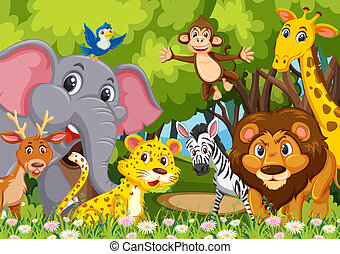 Group of animals in jungle
