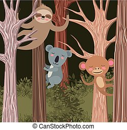 group of animals in the forest scene