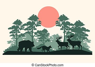 group of animals silhouettes in the jungle