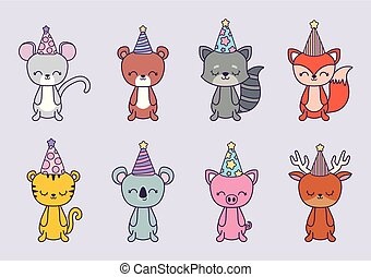 group of animals with hat party