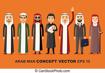 group of arab man family. Stages of development people - infancy, childhood, youth, maturity, old age. Vector.