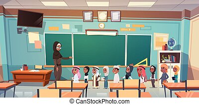 Group Of Arab Pupils With Teacher In Classroom On Lesson Education Concept