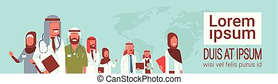 group of arabic doctors team standing together meeting conference concept arab medical hospital workers over world map background copy space portrait horizontal