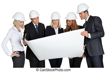 Group of architects discussing blueprint