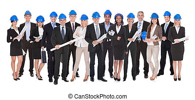 Group Of Architects With Blue Print