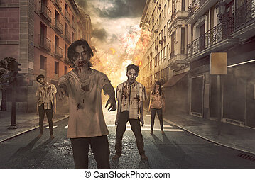 Group of asian scary zombies hang around on the street