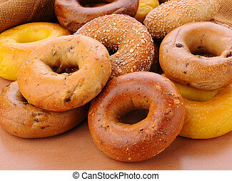 Group of Assorted Bagels - Closeup of a group of assorted...