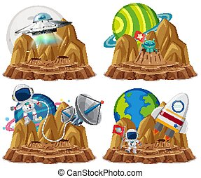 Group of astronaut with ufo in the planet cartoon style on white background