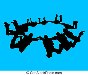 group of athletes paratroopers on a blue background