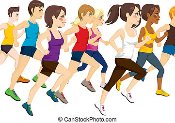 Group Of Athletes Running - Side view illustration of group...