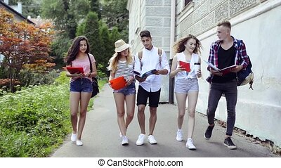 Group of attractive teenage students walking to university....