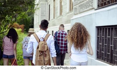 Group of attractive teenage students walking from...