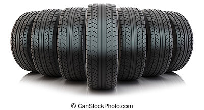 Group of automotive tires - Group of tires isolated on white...