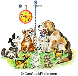 Group of barking funny dogs