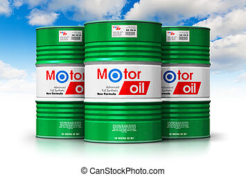 Group of barrels with motor oil lubricant against blue sky