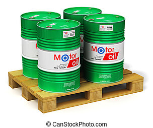 Group of barrels with motor oil lubricant on shipping pallet...