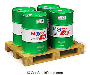 Group of barrels with motor oil lubricant on shipping pallet isolated on white