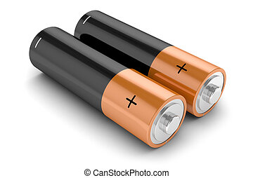 Group of batteries isolated on white background