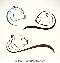 Group of bear head design on white background., Wild Animals. Easy editable layered vector illustration.