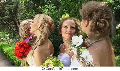 Group of beautiful brides