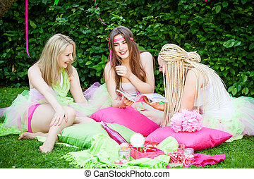 group of beautiful female friends smiling