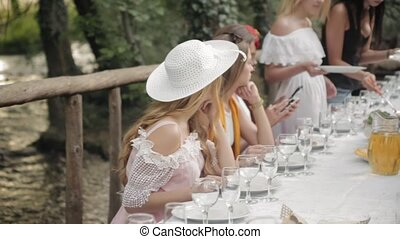 Group of beautiful girl in dresses at the picnic in the forest