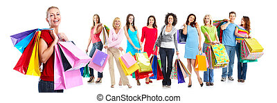 Group of beautiful shopping woman. Isolated on white...