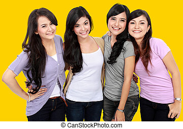 Group of beautiful women smiling together