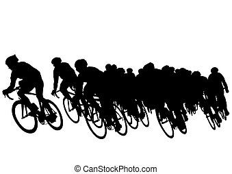 Vector drawing of a group of cyclists in competition