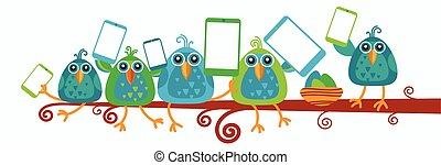 Group Of Birds Sitting On Branch Hold Smart Cell Phone...